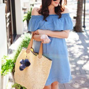 Loft Dress Pockets Chambray Off Shoulder Blue